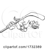 Poster, Art Print Of Rhino Ice Hockey Player Animal Sports Mascot