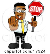 Black Businessman Mascot Cartoon Character Holding a Stop Sign