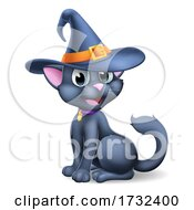 Halloween Black Cat In Witch Hat Cartoon