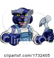 Panther Carpenter Handyman Builder Holding Hammer by AtStockIllustration