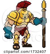 Poster, Art Print Of Pixel Trojan Spartan Game 8 Bit Gladiator Warrior