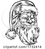 Christmas Santa Claus Face Retro Woodcut Style by AtStockIllustration