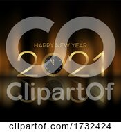 Happy New Year Background With Clock Design
