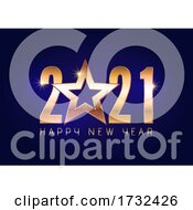 Happy New Year Background With Glittery Gold Star Design