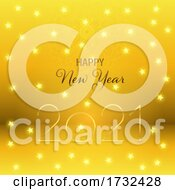 Happy New Year Background With Gold Stars