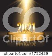 Happy New Year Background With Podium Design