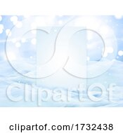 3D Christmas Snow Landscape With Blank Display Board
