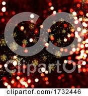 Christmas Background With Bokeh Lights And Golden Snowflakes