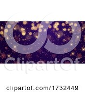Christmas Banner Design With Stars And Bokeh Lights