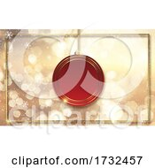Christmas Background With Gold Bokeh Lights And Hanging Bauble
