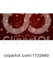 Christmas Banner Design With Snowflakes