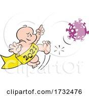 Cartoon New Year 2021 Baby Kicking A Corona Virus