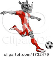 Rhino Soccer Football Player Animal Sports Mascot