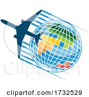 Poster, Art Print Of Airplane And Globe