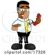 Black Businessman Mascot Cartoon Character Holding a Telephone