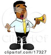 Black Businessman Mascot Cartoon Character Screaming Into A Megaphone