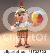 Poster, Art Print Of 3d Roman Centurion Soldier In Armour Holding A Beachball