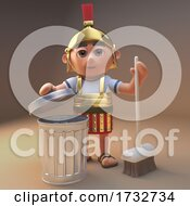 Poster, Art Print Of 3d Roman Centurion Soldier In Armour With A Broom And Trash Can