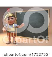 Poster, Art Print Of 3d Roman Centurion Soldier In Armour Using A Blackboard