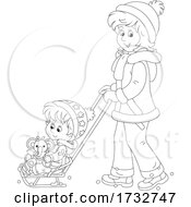 Poster, Art Print Of Happy Mom Pushing Her Daughter In A Sled Stoller