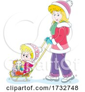 Mother Pushing Her Daughter In A Sled Stoller