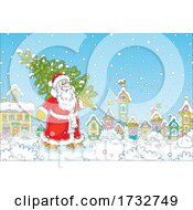 Poster, Art Print Of Santa Claus Carrying A Tree Through A Village