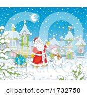 Santa Claus And A Snowman Walking Through A Town