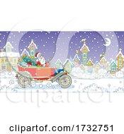 Santa Claus Driving A Vintage Car Through A Town by Alex Bannykh