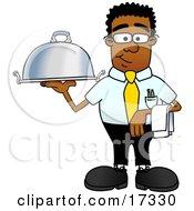 Black Businessman Mascot Cartoon Character Holding a Serving Platter