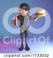 3d Leather Catsuit Goth Girl Eating A Beef Burger And Drinking A Soft Drink