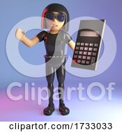 3d Leather Catsuit Goth Girl Holding A Calculator