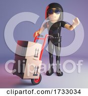 3d Leather Catsuit Goth Girl Wheeling A Trolley With Parcels And Packages