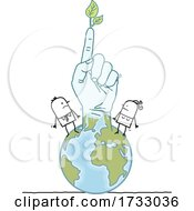 Poster, Art Print Of Stick Hand With A Leaf And People On The Globe