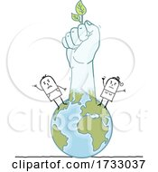 Poster, Art Print Of Stick Hand Fist With A Leaf And People On The Globe