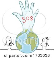 SOS Hand Emerging From A Globe And Stick People