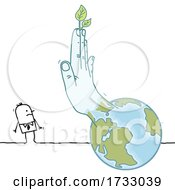 Hand With Leaves Emerging From Earth And Gesturing Stop To A Stick Man