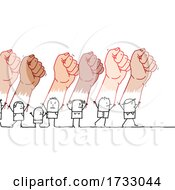 Stick People Holding Up Giant Fists