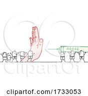 Poster, Art Print Of Hand Blocking A Vaccine To Stick People