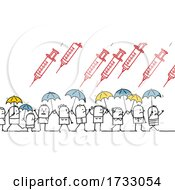 Stick People Using Umbrellas To Protect Themselves From Raining Vaccines