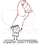 Stick Woman Holding Up A Giant Fist
