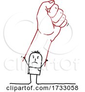 Stick Man Holding Up A Giant Fist