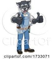 Wolf Construction Cartoon Mascot Handyman