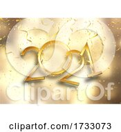 Gold Happy New Yyear Background With Confetti And Streamers
