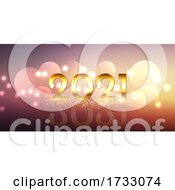 Happy New Year Banner Design With Glittery Gold Design