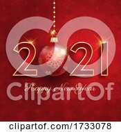 Happy NNew Year Background With Hanging Bauble