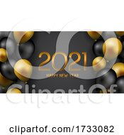 Happy New Year Banner With Gold And Black Balloons