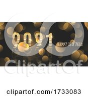Happy New Year Banner With Metallic Gold Design