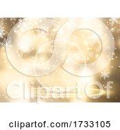 Golden Snow Globe On Christmas Background