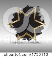Gold Star Background With Grunge Brush Strokes