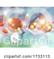 3D Medical Background With Syringe And Vaccine On Covid 19 Virus Cells And Blood Cells